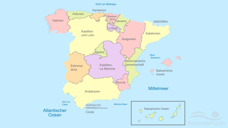 Karte der spanischen Regionen