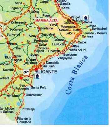 Karte Costa Blanca