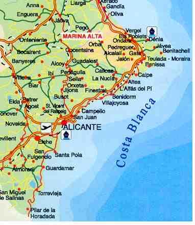 Karte Costa Brava Spanien.Stadte Und Dorfer An Der Costa Blanca Valencia